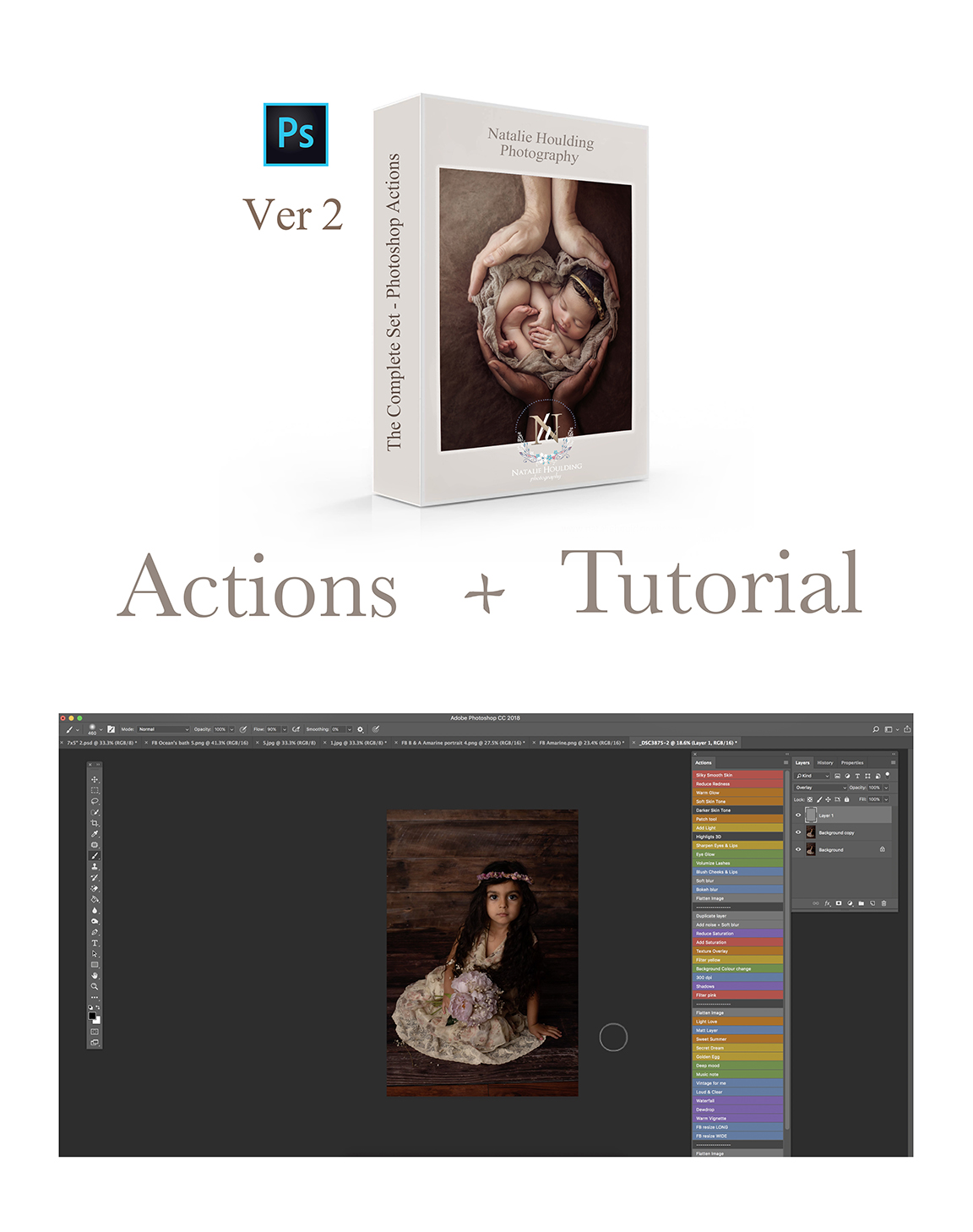 Cover image for Painterly tutorial plus actions bundle